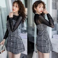 Đầm dạ cúp ngực + áo thun lưới -T0367