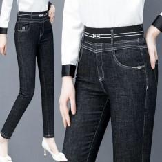 Quần jeans cạp bo sọc trắng -T0406