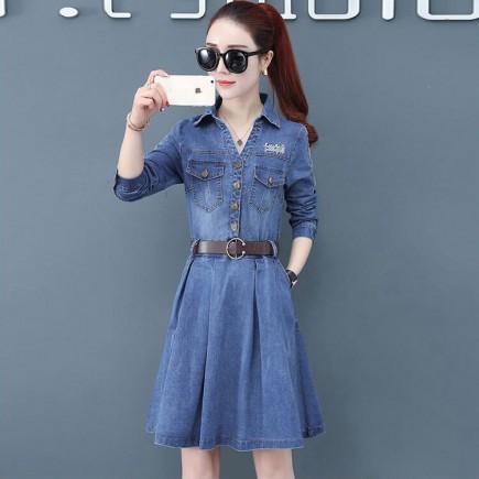 Đầm jean thêu chữ kèm nịt - T0408