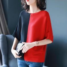 Áo len phối màu đen đỏ -H160