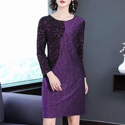 Đầm kim tuyến phối màu quý bà -K352