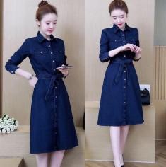 Đầm jean sơ mi cột eo -Y2217