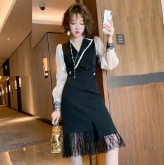 Set áo tay voan + váy chân ren - K459