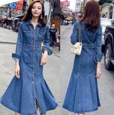 Đầm jean tay dài đuôi cá -Y2360