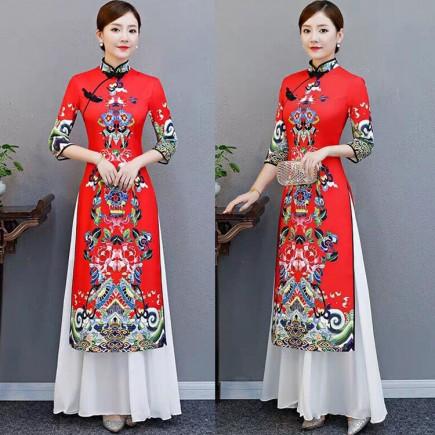 Áo dài cách tân Trung Hoa kèm váy -K390