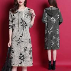 Đầm len hoa phối nón - A6787