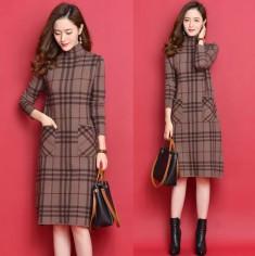 Đầm len caro BB 2 túi -T0473