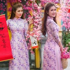 Set áo dài hoa tím 4 tà -T0479