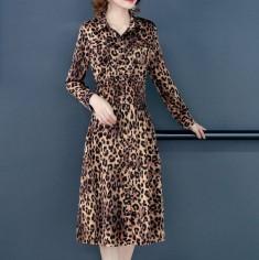 Đầm lụa beo nhún eo cổ sơ mi -T0480