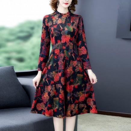 Đầm xòe in hoa đỏ -A6148