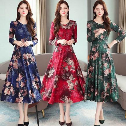 Đầm maxi hoa thun gấm -A6160