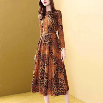 Đầm da beo dáng dài kèm nịt -A6162