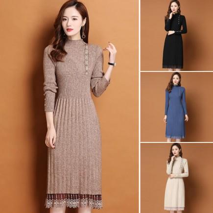 Đầm len viền ren đính nút -T0492