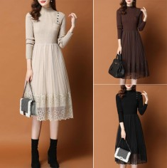 Đầm len váy ren xòe -T0495