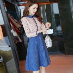 Đầm xòe chân dạ len phối ren -K392